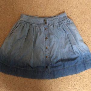 Francesca's Ombre Button Down Jean Skirt